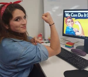 Jess copying Rosie the riveter