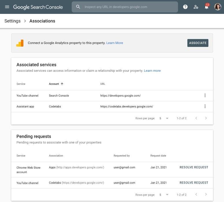 New Google Search Console Associations Screenshot